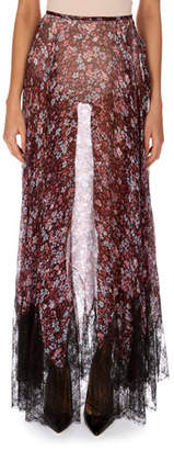 Redemption Sheer Floral-Print Silk Skirt with Lace Hem
