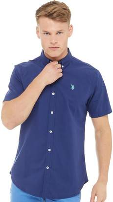 U.S. Polo Assn. Mens Garret Short Sleeve Shirt Medieval Blue