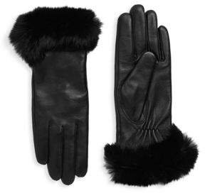 Surell Dyed Rabbit Fur-Trimmed Leather Gloves
