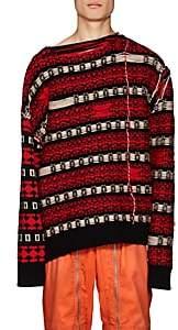 Calvin Klein Men's Striped Reverse-Stitched Wool-Blend Sweater - Black