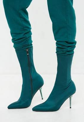 Missguided Turquoise Clear Heel Sock Boots