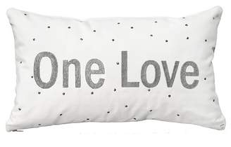 "HYM One Love Embroidered Lumbar Pillow - Silver - 11"" x 20\"""