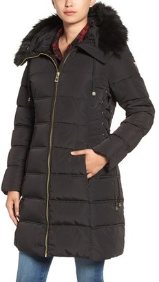 Women's Guess Faux Fur Trim Hooded Lace-Up Detail Quilted Coat $198 thestylecure.com