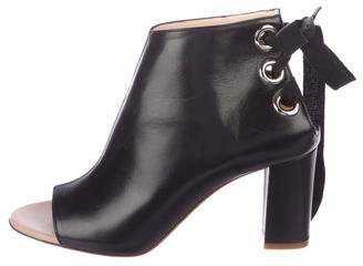 Jerome C. Rousseau Peep-Toe Leather Booties