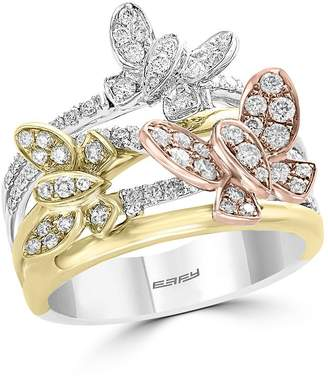 Bloomingdale's Diamond Butterfly Ring in 14K Rose, Yellow & White Gold, 0.80 ct. t.w. - 100% Exclusive