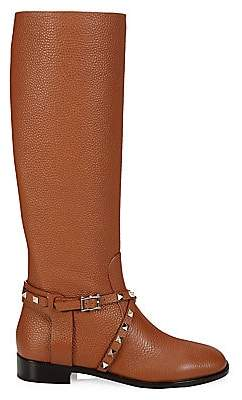 Valentino Women's Rockstud Leather Riding Boots