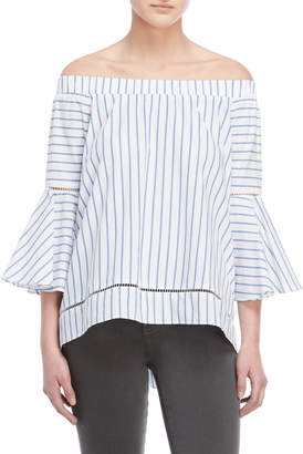 Romeo & Juliet Couture Romeo + Juliet Couture Striped Off-the-Shoulder Bell Sleeve Top