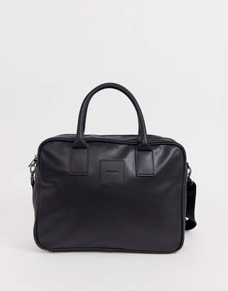 Asos Design DESIGN faux leather satchel in black with square logo patch