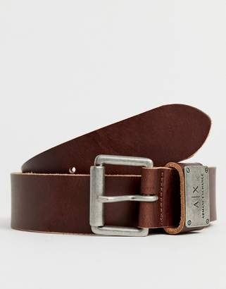 Armani Exchange leather logo keeper belt in brown