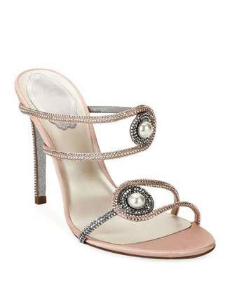 Rene Caovilla Pearly Embellished High-Heel Satin Sandals