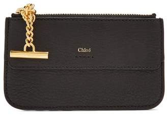 Chloé Drew Grained Leather Card Holder - Womens - Black