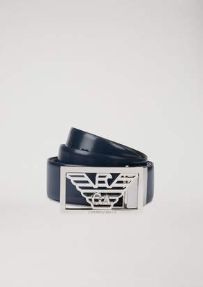 Emporio Armani Smooth And Abraded Reversible Leather Belt With Logo Buckle