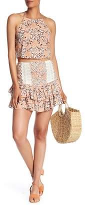 Vintage Havana Smocked Crochet Panel Layered Ruffle Skirt