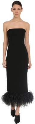 16Arlington Strapless Stretch Cady Dress W/ Feathers