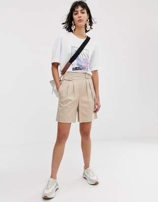 Asos high waist belted shorts