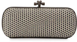 Bottega Veneta Small Stretch Knot Clutch Bag, Off White/Black