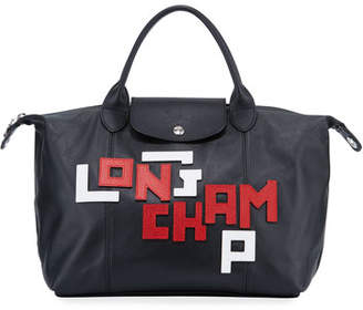 Longchamp Le Pliage Cuir LGP Medium Logo Leather Tote Bag