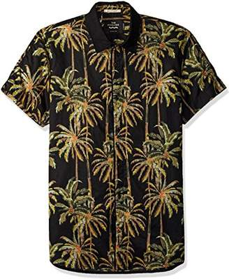 Scotch & Soda Men's The Pool Side All-Over Printed Shirt with Contrast Collar