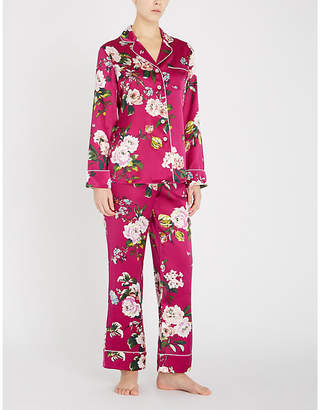cf3086e2ea Olivia Von Halle Lila Marple floral-print piped pyjamas
