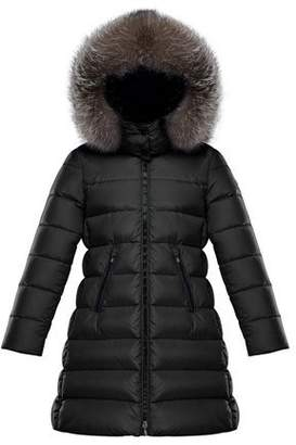 Moncler Abelle Quilted Puffer Coat w/ Fur Trim, Size 8-14