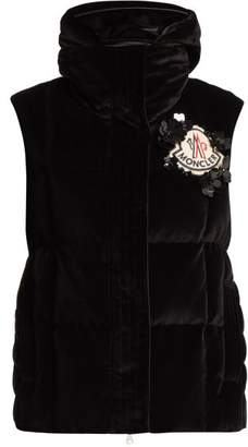 Simone Rocha 4 Moncler Jane High Neck Velvet Gilet - Womens - Black