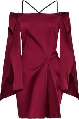 Roland Mouret Cold-Shoulder Gathered Satin Mini Dress
