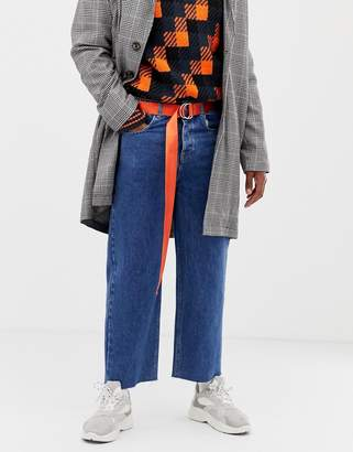 Collusion COLLUSION wide fit jean with raw hem in classic wash