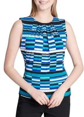 Calvin Klein Petite Pleated Sleeveless Jersey Top