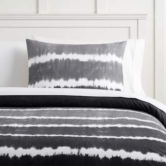 Pottery Barn Teen Tie Dye Stripe Organic Duvet Cover, Twin/Twin XL, Faded Black