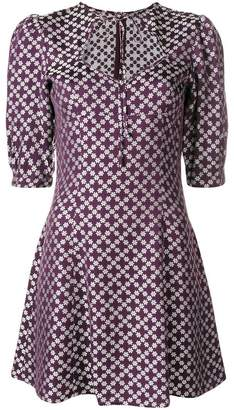 ALEXACHUNG Alexa Chung floral tie neck mini dress