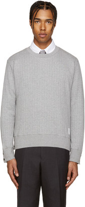 Thom Browne Grey Rib Knit Pullover $430 thestylecure.com
