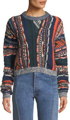 Carven Multi-Print Crewneck Pullover Sweater