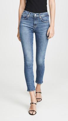 A Gold E Agolde Toni Mid Rise Straight Jeans