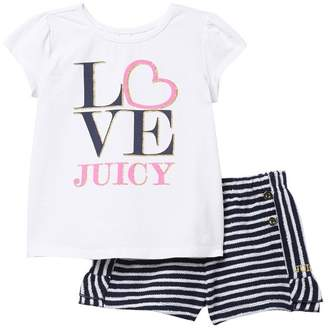 Juicy Couture Love Juicy Top & Stripes Shorts 2-Piece Set (Little Girls)