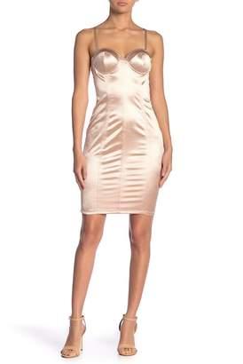 TOV Sweetheart Neck Bustier Satin Bodycon Dress