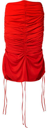 Marques Almeida Marques' Almeida Ruched Voile Midi Skirt - Red