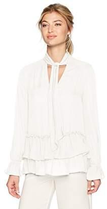 Nicole Miller Women's Annabell Ruffle Sleeve Tie Silk Blouse