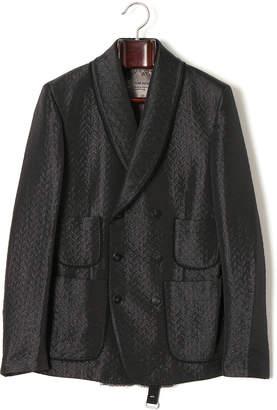 Tom Rebl 総柄 パッチポケット ショールカラー ジャケット ブラック 46