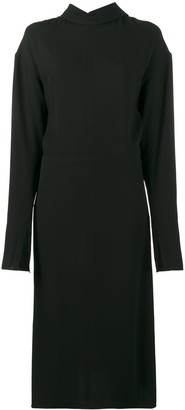 Marni backwards collar long sleeve dress