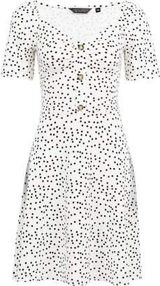 2bde2bc634954 Dorothy Perkins Womens White Spot Print Button Detail Skater Dress