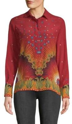 Valentino Graphic Silk Button-Down Shirt