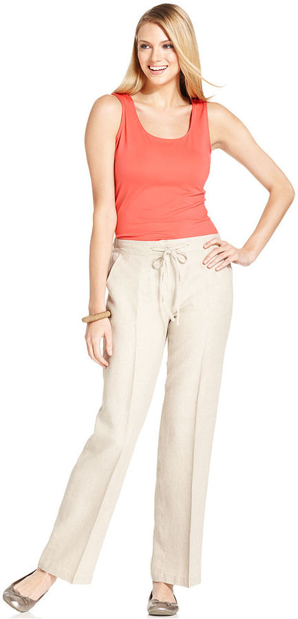 Charter Club Pants, Wide-Leg Drawstring Linen