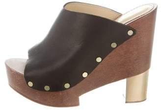 Pollini Leather Platform Sandals