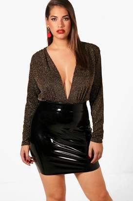 boohoo Plus Jennifer Shimmer Plunge Bodysuit