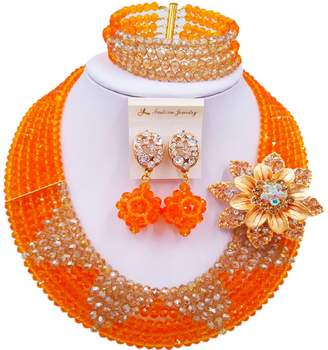 aczuv 6 Rows Crystal Nigerian Beaded Jewelry Set African Wedding Beads Bridal Jewelry Sets