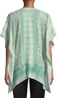 Roberto Cavalli Short-Sleeve Silk Button-Front Blouse