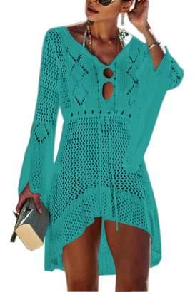 a9958030fd Assivia Womens Summer Swimsuit Cover Up Crochet Bikini Bathing Suit Beach  Dress