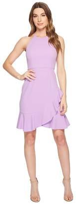 Donna Morgan Crepe Halter Dress with Ruffle Skirt Women's Dress