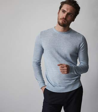 Reiss ORDER BY MIDNIGHT DEC 15TH FOR CHRISTMAS DELIVERY GRAYSON LINEN BLEND CREW NECK JUMPER Soft Blue