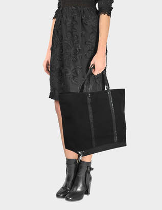 Vanessa Bruno Sequin and Canvas Medium + Tote Bag in Black Cotton